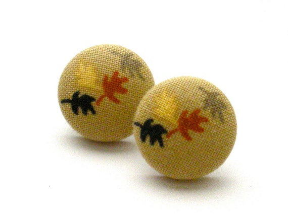 Button Earrings, Fall Foilage, Jewelry, Button Jewelry, Thanksgiving, Autumn, Fall, Leaf Earrings