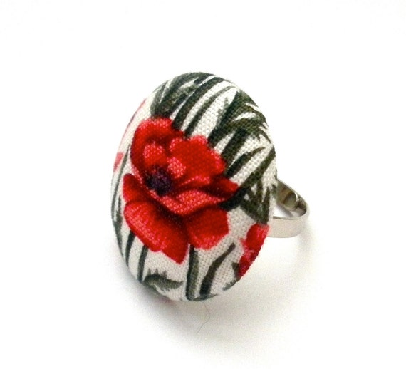 Bright Red Poppy Fabric Button Ring