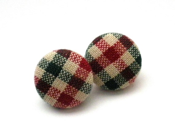 Button Earrings, Christmas Plaid Earrings, Holiday Jewelry, Holiday Earrings, Gingham, Plaid