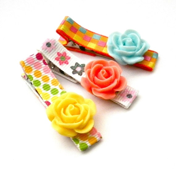 Spring Pastels Set of 3 Child Hair Clips