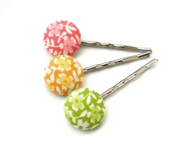 Fabric Button Bobby Pins, Spring Inspiration, Flower Bobby Pins, Spring Floral, Pastel, Easter, Hair Accessories