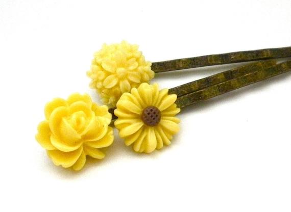Sunshine Yellow Set of Three Resin Cabochon Flower Bobby Pins