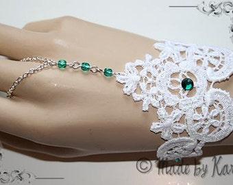 Beautiful White Green Emerald Lace Bracelet Wedding Faery