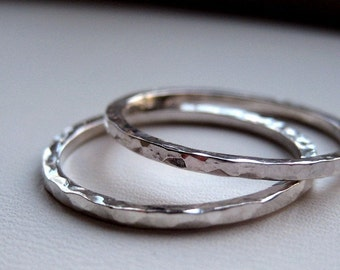 Tiny Silver Facets Stacking Rings - Sterling Silver