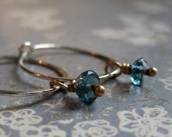 Moody Earrings - London Blue Topaz, 10K Yellow Gold and Sterling Silver Hoops