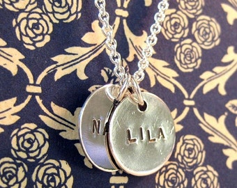 Custom Hand Stamped Sterling Silver Name Charm Disc Necklace