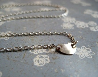 Tiny Lucy Necklace - Petite Gold Heart and Sterling Silver