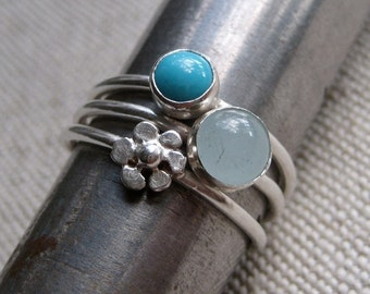 Sterling Silver Beach and Flower Stacking Rings