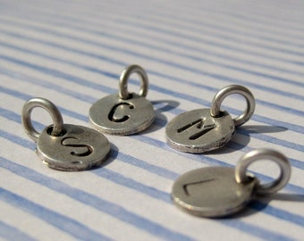 Custom Silver Stamped Initial Letter Charm