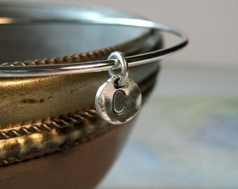 Sterling Silver Bangle with Custom Initial Charm
