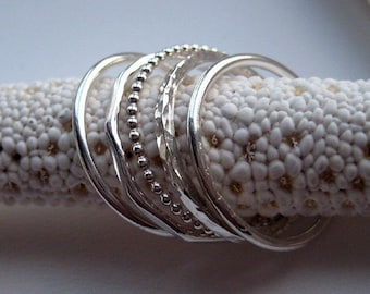 Party of Five - Sterling Silver Stacking Rings