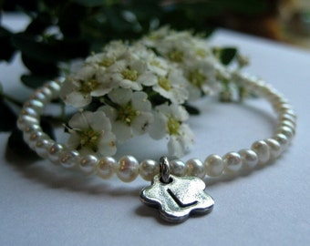 Freshwater Pearl and Sterling Silver Little Girl Child Flower Charm Bracelet with Initial