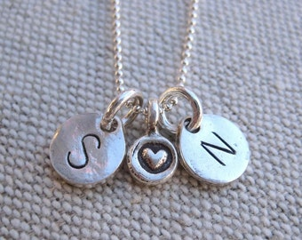Boyfriend Necklace - Two Hand Stamped Initial Charms with a Heart Between Them