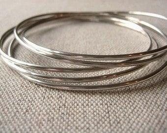 Sterling Silver Slim Connected Bangle Bracelets - Set of 5