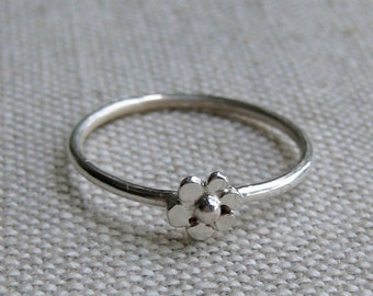 Teeny Tiny Sterling Silver Daisy Flower Stacking Ring