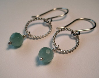 Seawater Earrings - Hammered Circle Dot Ovals with Aquamarine