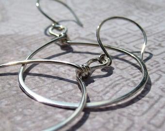 Loop On Top Sterling Silver Hoop Earrings