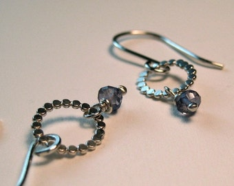 Adrienne Earrings with Iolite - Hammered Circle Dots in Sterling Silver