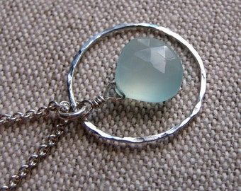 Organic Hoop Necklace - Sterling Silver and Aqua Chalcedony
