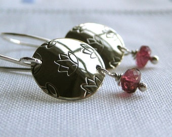 Lotus Blossom Earrings with Faceted Pink Tourmaline