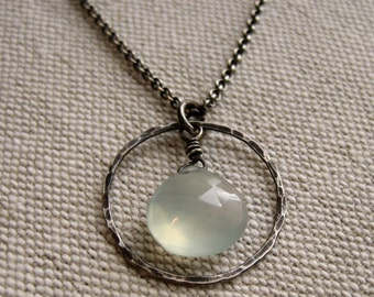 Organic Hoop Necklace - Oxidized Sterling Silver and Light Green Chalcedony