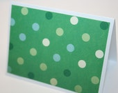 Set of 6 Green and White Polka Dot Mini Cards - Gift Enclosure - Small Card - Gift Tag - Thank You - Christmas Tag - Christmas Card
