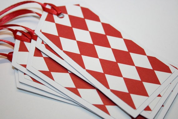 Set of 6 Red and White Argyle Tags - Christmas Tag - Gift Tag - Hang Tag - Gift Enclosure - Christmas