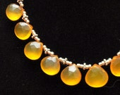 Lemon yellow drop chalcedony stone briolette necklace sterling beaded