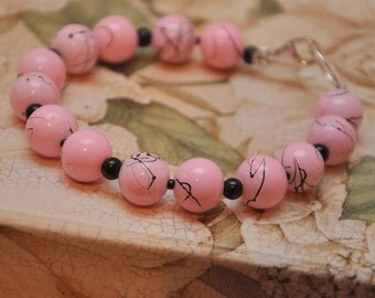 Glass Art Pink and Black paint splatter bead bracelet sterling silver toggle clasp