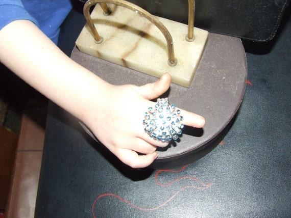 Vintage Sky Blue Crystal Cluster Ring