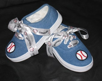 Kids Hand painted baseball shoes