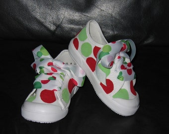 Red and green polka dot shoes
