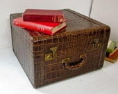 Vintage Brown Leather Suitcase - Faux Reptile