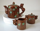 Vintage Squirrel Teapot - Sugar and Creamer - Pine Cones - Green Leaves