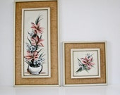 Reserved for angellovesnathan -Mid Century Modern Painting - Flowers - Woven Gold Cloth on Wood Frame