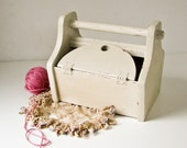 Vintage Wood Box  with Handle and Hinged Lids - Creamy White Paint