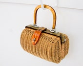 Vintage Rattan and Lucite Handbag - Cute Summer Accessory