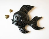 1950s Black Ceramic Fish Wall Plaque - Atomic Kitsch