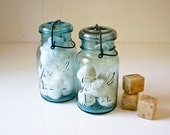 2 Vintage Aqua Mason Jars - Glass Lids