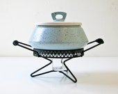 1950s Atomic Era Casserole - Chafing Dish -  Turquoise - Splatter Design