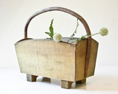 Natural Wood Tote - Twig Handle - Carry All - Tool Carrier - Garden Carrier