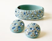 Bakelite and Rhinestone Bracelet and Earring Set - Powder Blue - Weiss