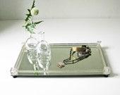 Mirror and Cut Glass Vanity Tray - Perfume Tray - Jewelry Display