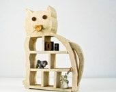 Folk Art Wood Cat Shelf - Outsider Art - Naive Art - Creamy White Paint