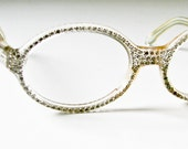 1950's Clear Plastic and Rhinestone eyeglass Frames - Ready for Prescription or Dark Glass -  Mid Century Modern -French