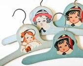 4 Vintage Child Hangers - Shades of Blue-Green - Children Faces