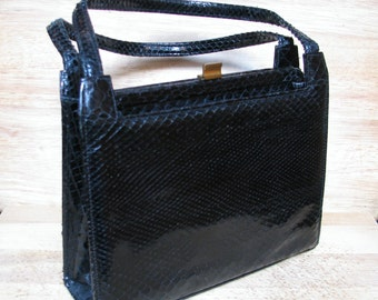 Snakeskin Handbag, Black Purse, Vintage Pocketbook, 1940s