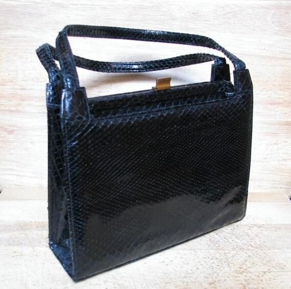Snakeskin Handbag, Black Purse, Vintage Pocketbook, 1940s