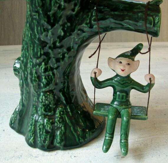 Vintage Elf and Tree Planter - Green Glaze