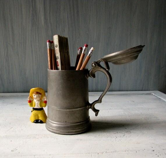 Antique Pewter Mug with Lid - Beer Mug or Desk Accessory